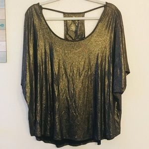 Juicy Couture Black Gold Open necked Dress Blouse